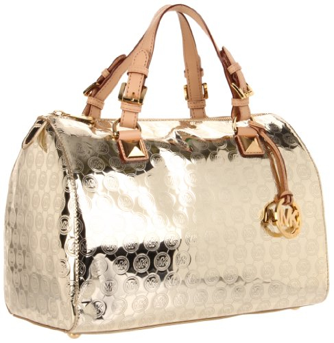 MICHAEL Michael Kors Grayson Large Jet Set Monogrammed Tote, Pale Gold