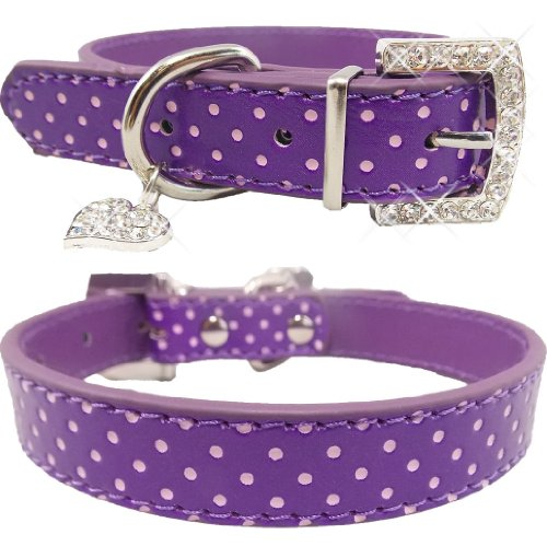 Fancy Adjustable Bling Purple with Pink Polka Dots PU Leather Cute Dog Collar (Medium)**SHIPS NEXT DAY FROM USA**