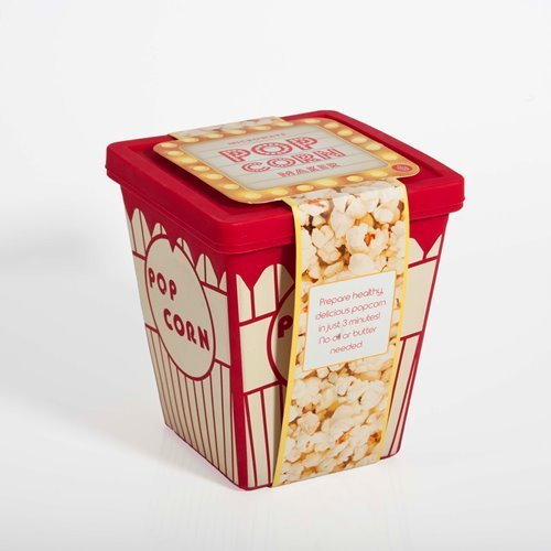 Thumbs Up Popcorn Tub Behälter für die Mikrowelle, Silikon, weiß, 13,3 x 9,1 x 15,5 cm