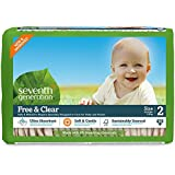 Seventh Generation Free and Clear Sensitive Skin Baby Diapers, Original Unprinted, Size 2, 180 Count