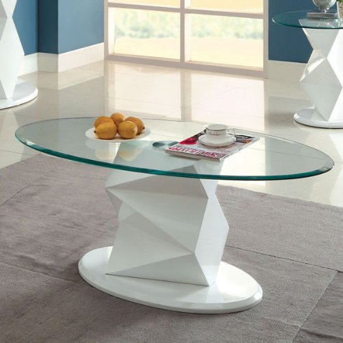 Marius Contemporary Style White Lacquer Finish Coffee Table