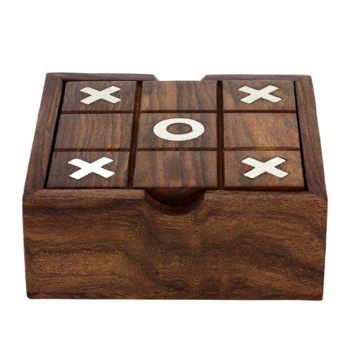 2 in 1 in legno gioco set - tic tac toe e solitario gioco da tavolo - gioco da tavolo per la famiglia - regalo di compleanno idea - 3.81 x 12.7 x 12.7 cm