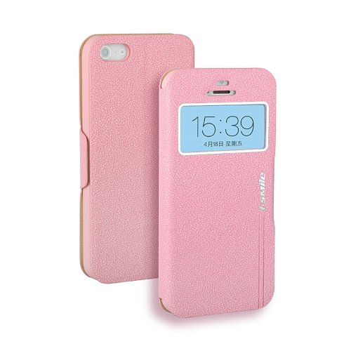 Moon Monkey Ultra-Thin Lichee Pattern Stand Function Slim Folio Case For Iphone 5 5S With Intelligent Window (Mm333) (Pink)