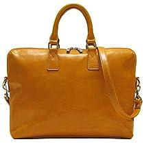 Floto Milano Leather Slim Briefcase in Olive