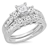 2.00 Carat (ctw) 14K White Gold Princess & Round Diamond Ladies 3 Stone Bridal Engagement Ring Set 2 CT