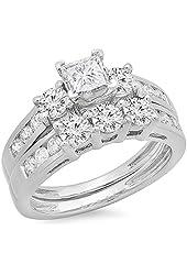 2.00 Carat (ctw) 14K White Gold Princess & Round Diamond Ladies 3 Stone Bridal Engagement Ring Set 2 CT