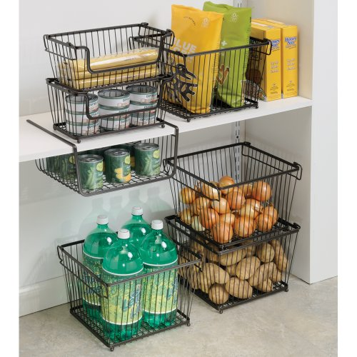 Kitchen Storage Bins: Under Shelf Basket Storage Space Saving Steel Bronze