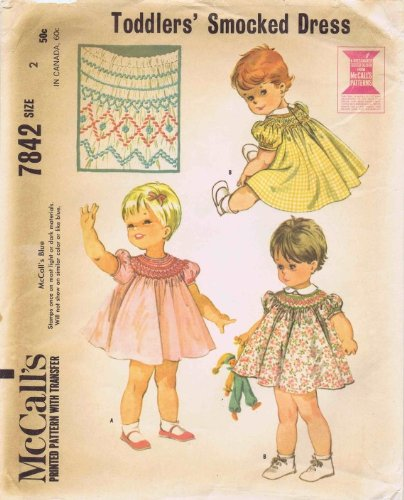 Mccall'S 7842 Toddler Girls Smocked Dress Vintage Sewing Pattern Size 2 front-924291