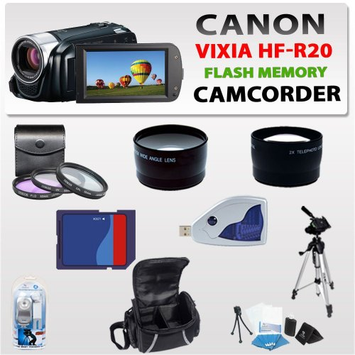 Canon Vixia Hf-r20 Flash Memory Camcorder (Black) with 3 Extra Lens, 8gb Sdhc Memory Card, Card Reader, Video Light, Aluminum Tripod, & Much More !!