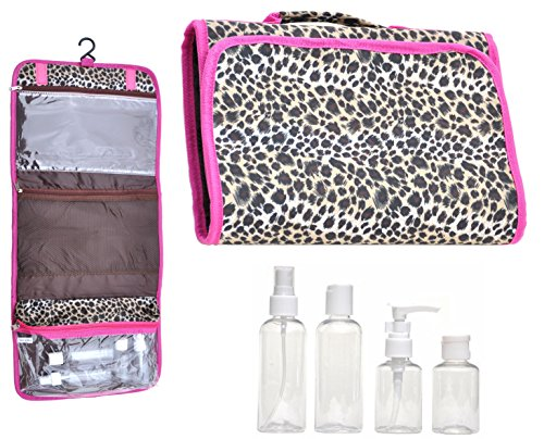 [Best Lg Animal Leopard Print Pink Trim Hanging Travel Kit Makeup Toiletries Cosmetic Bag Case Organizer with 4 Pack Travel Bottle Set Unique Gift Idea Teen Girl] (Kids Natural Leopard Costumes)