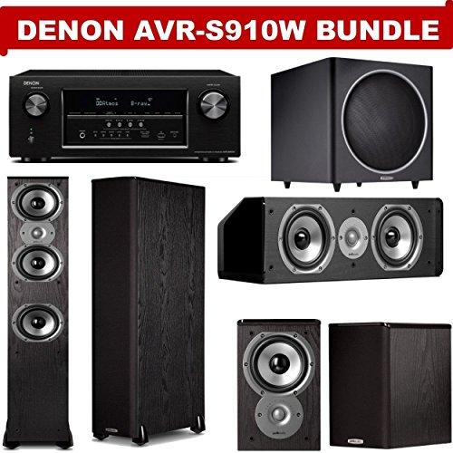 Denon AVR-S910W 7.2 Channel Full 4K Ultra HD A/V Receiver + A Polk Audio TSi Series Home Theater Speaker Package (TSi 400, TSi 100, CS10 & PSW125)