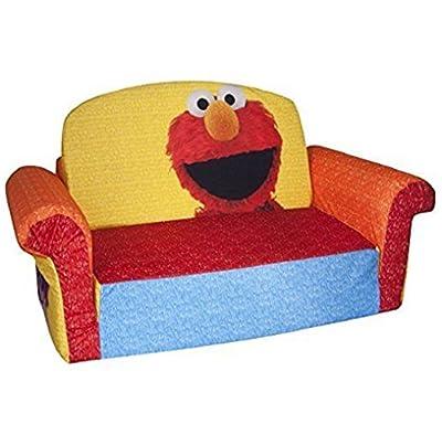 Marshmallow Furniture FLIP OPEN SOFA, Soft Plush Children's Sized Sofa Elmo Sesame 2 In 1 Foam Cozy KIDS SOFA