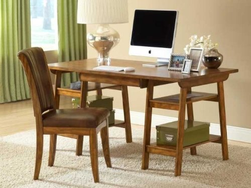 Picture of Comfortable 2pc Computer Desk and Chair Set in Medium Oak Finish (B004S0V56Q) (Computer Desks)