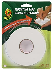 Duck Brand Permanent Foam Mounting Tape, Double-Sided, 0.75-Inch x 15 Feet, Single Roll, White (394666)
