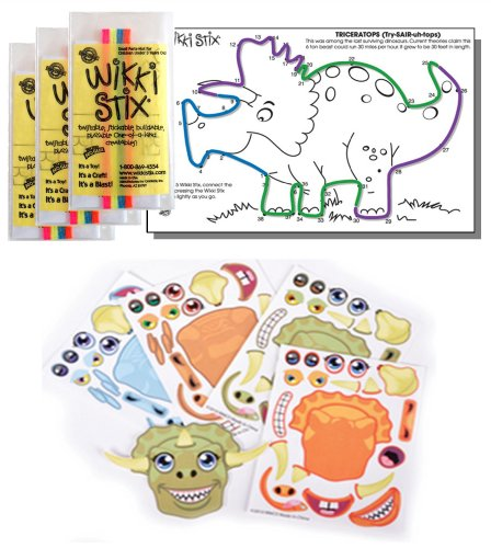 Dinosaur Stickers & Wikki Stix Party Favor Pack - 24 Pc (12 Make-a-Dinosaur Sticker Sheets & 12 Pkgs of Dinosaur Wikki Stix)