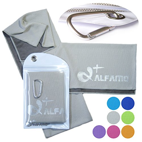 """Cooling Towel for Instant Relief - 40"""" Long As a Bandana Scarf - XL Ultra Soft Breathable Mesh Yoga Towel - Keep Cool for Running Biking Hiking Basketball Football Golf and All Other Sports, Premium Waterproof Bag Packaging with Carabiner, 100% Money Back Guarantee"""