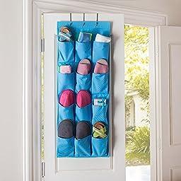 12 Pocket Hanging Door Holder Storage Organizer, Tune Up Closet Shoe Hanger Organiser Box (Blue)