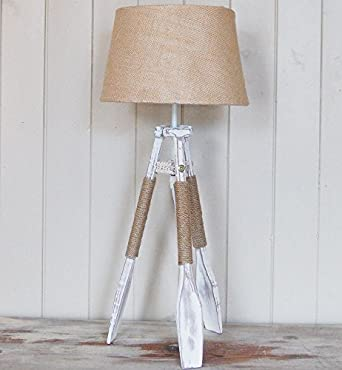 french nautical tripod oar table lamp with hessian lamp shade amazon. Black Bedroom Furniture Sets. Home Design Ideas