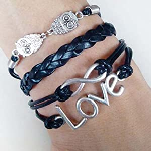 Cool Silver/black Infinity Love Owl Design Rope Charms Leather Bracelet Bangle Hemp Wrap