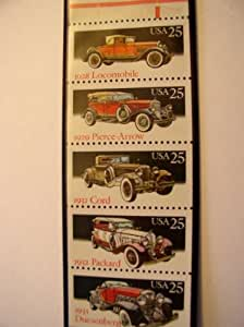 US Postage Stamps, 1988, Classic Automobiles, S# 2381-85, Booklet Pane of 5 25 Cent Stamps, MNH