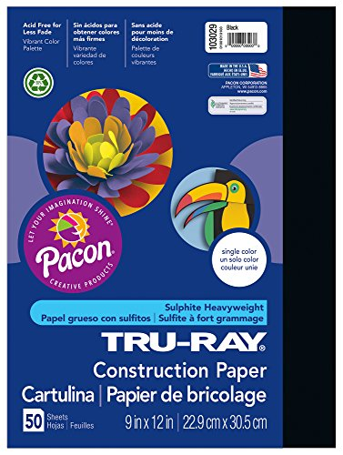 "Tru-Ray Construction Paper, 9""X12"", Black, 50 Sheets"