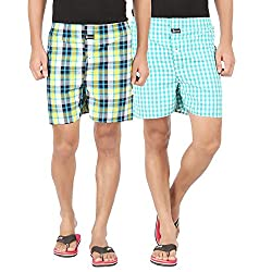 Joven Mens Cotton Checkered Multicolor Boxer-N001(Pack of 2)
