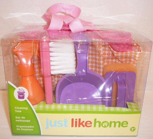Toy Cleaning Tote Set - 5 Pieces with Dust Pan, Mini Broom, Spray Bottle, Sponge (Pink, Purple, and Orange) - 1