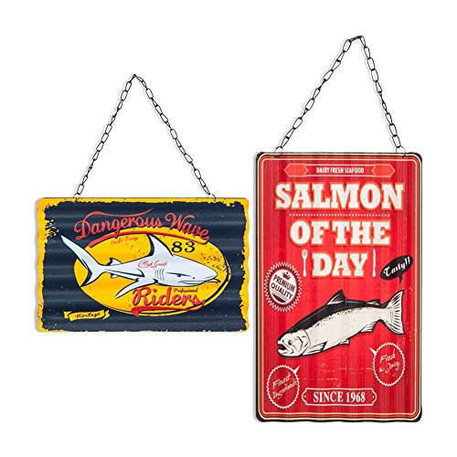 Xing Cheng Home Wall Decoration Wall Art 2 Panels Sea Food Salmon Of The Day Wavy Metal Signs