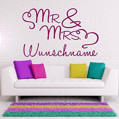 Wandtattoo Mr and Mrs Wunschname Frau und Herr Schriftzug Ehepaar Liebe Herzen Wanddekoration Wanddesign ca. 40 x 25 cm azurblau