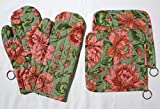 Floral Print Microwave Oven Gloves With Potholder (Set of 2)