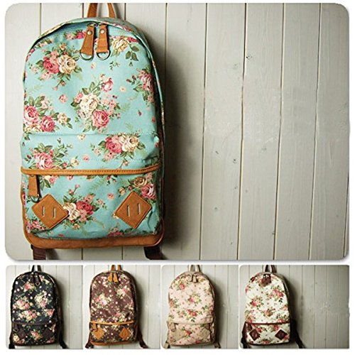Flower Floral Bag Schoolbag Bookbag Backpack For Women Girl Vintage Cute