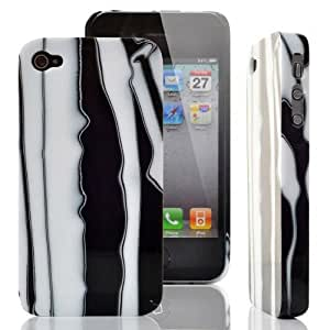 Apple iPhone 4 New Fashion Dazzle Colour Hard Back (White&Black) - Snap On Cover, Hard Plastic Case, Face cover, Protector - Retail Packaged