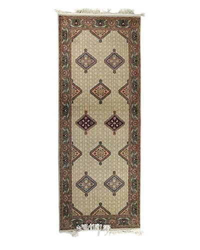 Bashian Rugs Hand-Knotted Indo Sarab Rug, Beige, 3' x 7' 9 Runner