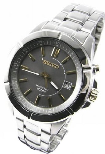Seiko Ska543 Mens Kinetic Water Resistant Stainless Steel Dark Grey Dial Watch