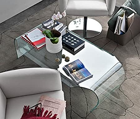 Transparent curved glass coffee table Heart - Living room, halls