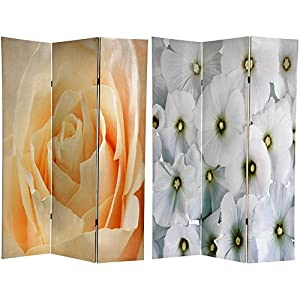 Oriental Furniture Photo Print Room Divider, 6-Feet Flower Photo Double Printed Folding Portable Floor Art Print Screen Partition