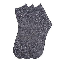 HANS Executive melange Ankle length socks for men (Pack of 3) (a3dgry_darkgrey)