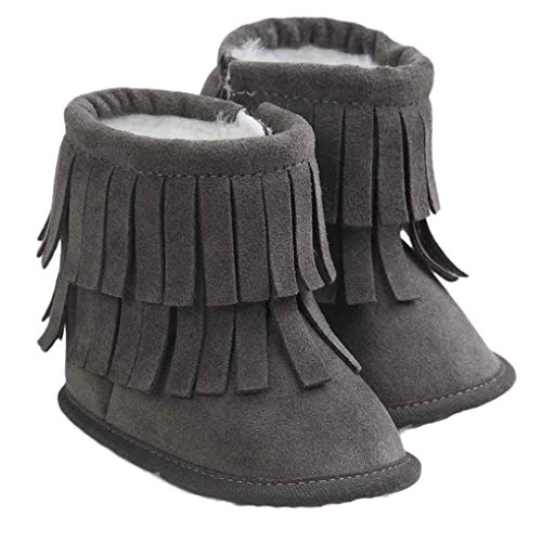 Voberry Baby Toddler Girls Boys Winter Warm Snow Boot Tassels Trimmed Boots Outdoor (0~6Month, Dark Gray)