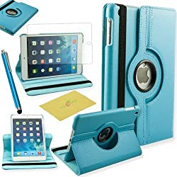 Ipad Mini /Mini 2 /Mini 3 Case, Fulland Colorful 360 Rotating Flip Leather Case Cover for Apple iPad MINI and New Ipad Mini 2 Ipad mini 3 with Smart Auto Wake/Sleep Function plus Stylus Touch Screen Pen and Screen Protector-Baby Blue
