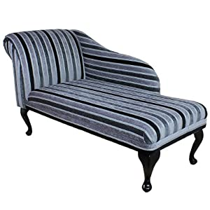 52 chaise longue in a silver black striped fabric for Black and silver chaise longue