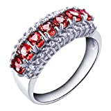 100% Genuine Classic 2.6ct Stunning Garnet CZ Diamonds 925 Sterling Silver 18K White Gold Plating Luxury Cluster Setting Ring Gem Fine Jewellery-SizeG