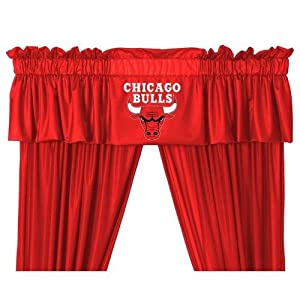Chicago Bulls Window Treatments Valance and Drapes by Sports Coverage