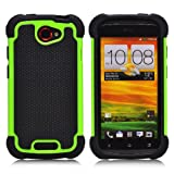 32nd® Shock proof dual defender case cover for HTC Desire 610 + screen protector, cleaning cloth and touch stylus - Green