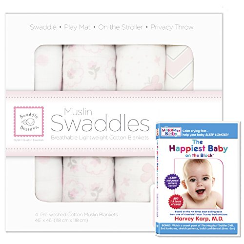 SwaddleDesigns Muslin Swaddle 4pack with The Happiest Baby DVD Bundle, Butterfly Fun, Pastel Pink
