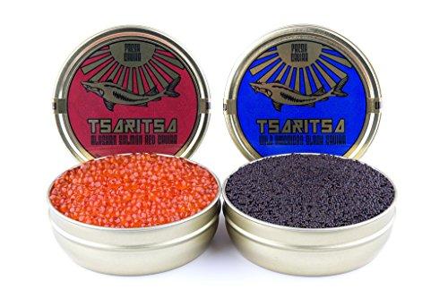 LIMITED-TIME-OFFER-Caspian-Tradition-RUSSIAN-Style-TSARITSA-FRESH-Salmon-Bowfin-Malossol-CAVIAR-2-x-875oz-tins