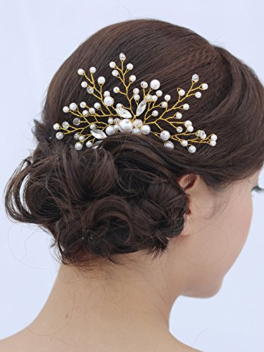 Venusvi Vintage Wedding Hair Combs with Bead and Rhinestones - Bridal Headpiece for Bridesmaids 3