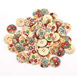 YARUIE 4 Holes Assorted Pattern Round Wooden Sewing Button Scrapbooking Bulk 24 MM Burlywood(Pack of 60)