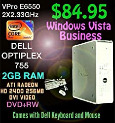 Dell Optiplex 755 DT Desktop PC Computer HOLIDAY SPECIAL!!!, Intel 2.33GHz Core 2 Duo vPro E6550 Processor, 2GB DDR2 Dual Symmetric Interlaced High Performance RAM Memory(Upgrade to 8GB Max), 256MB Video Card, Super Fast SATA 80GB Hard Drive, DVD+RW, Running Windows Vista Business can upgrade to Windows XP, Windows 7 or Windows 8. WITH DELL KEYBOARD AND MOUSE Quantities Available
