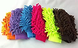 Microfiber Super Soft Hand Glove (Set of 6) Duster Washing Mitt Single Side Gloves