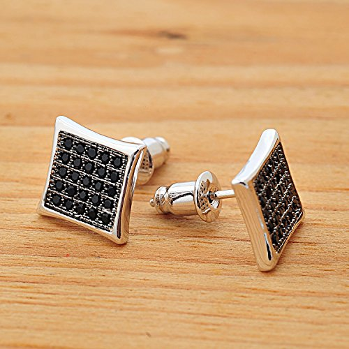 Bala 9mm Square Silver Black Gun Tone Cz Diamond Stud Earrings for Me